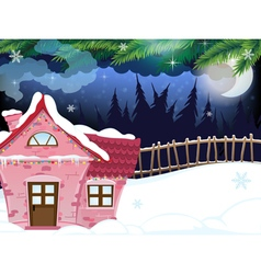 Snow covered forest house vector