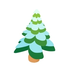 Snowy fir icon cartoon style vector image