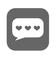 Speech bubbles with hearts icon filled vector