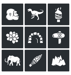 Stone age and dawn dinosaurs icons vector