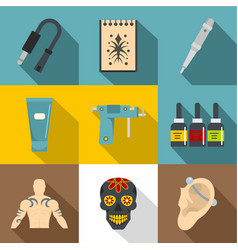 Tattoo equipment icons set flat style vector