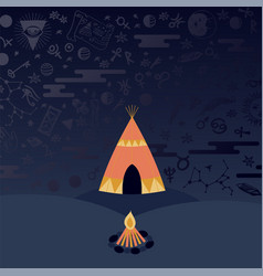 Teepee tent and campfire at night astrology vector