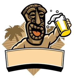 Tiki hold a glass of beer vector