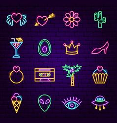 trendy girl neon icons vector image