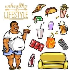 Unhealthy Lifestyle - Man vector