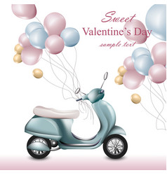valentines day card with scooter and balloons vector image