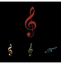 Violine clef icon set vector image