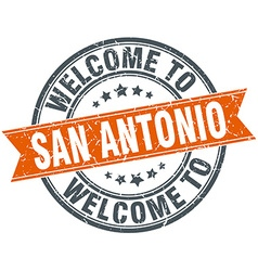 Welcome to san antonio orange round ribbon stamp vector