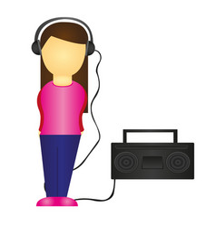 woman listening to music isolated over white vector image