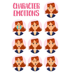 woman or lady girl faces with emotions vector image