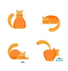 Cute Orange Cat Set vector image vector image