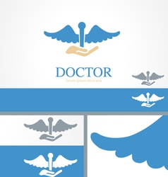 Hand Doctor Medical Health Logo Concept Template vector image vector image