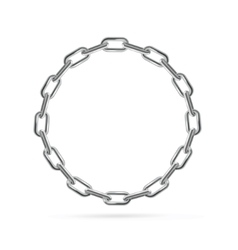 Silver Chain Frame Round vector image