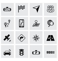 black navigation icon set vector image