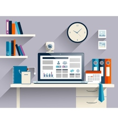 Businessman workplace flat vector image vector image