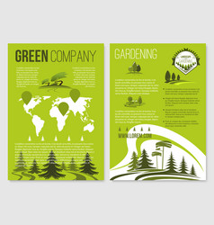 green company posters templates set vector image vector image