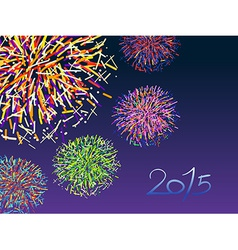 Happy new year 2015 with colorful firework on dark vector image