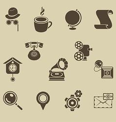 Retro icons set vector image vector image