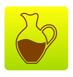 amphora sign brown icon at green-yellow vector image