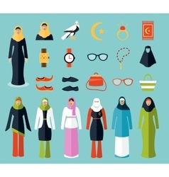 Arab woman accessories and clothes icons vector image vector image