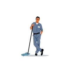 Cleaning service sign mature man with a mop to vector
