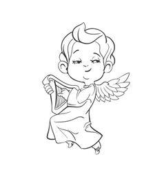 Cute baby angel making music playing harp vector image vector image