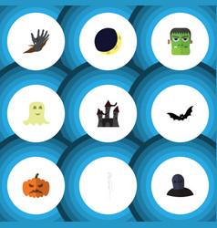 flat icon celebrate set of zombie pumpkin vector image vector image