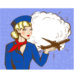 pop art of stewardess with vector image vector image