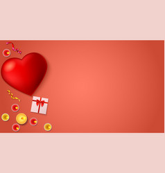 romantic background big red heart burning vector image vector image