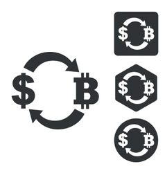 Dollar-bitcoin exchange icon set monochrome vector image