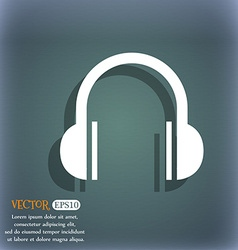 headphones icon On the blue-green abstract vector image
