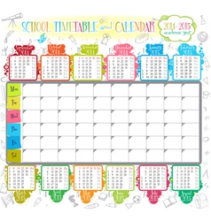 School timetable and calendar 2014 2015 vector image