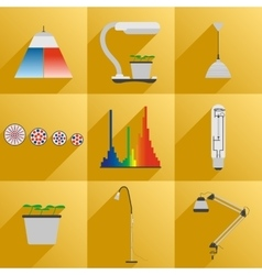 Set icon LED equipment phyto light for plants vector image vector image