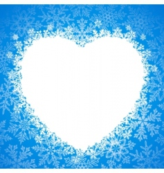 snow frame snow heart vector image vector image
