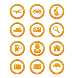Travel and transportation web buttons set vector image vector image