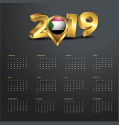 2019 calendar template sudan country map golden vector image