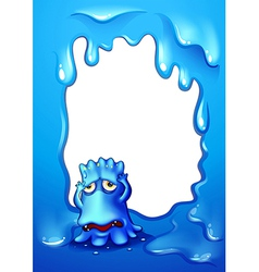 A blue template with a frustrated blue monster vector image