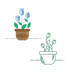 a set of flowers in a pot in linear and full color vector image