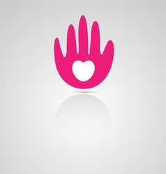 Abstract hand and heart logo vector image