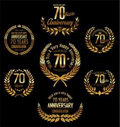 Anniversary golden laurel wreath 70 years vector