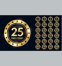 anniversary labels big set in premium golden vector image