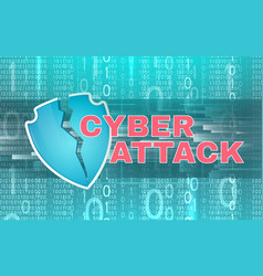background cyber attack theme with broken shield vector image
