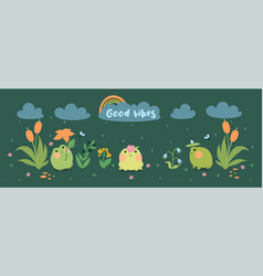 banner with cute frogs flowers in rain vector image