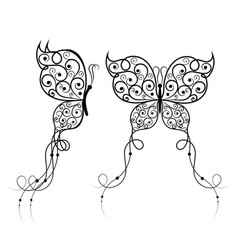 Beautiful butterflies with swirl pattern vector