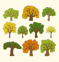 beautiful set hand drawn doodle trees isolated vector image