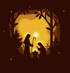 Birth christ nativity scene with holy family vector