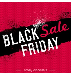 Black friday sale banner on red knitwear backgroun vector