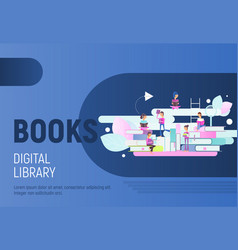 books digital library poster vector image