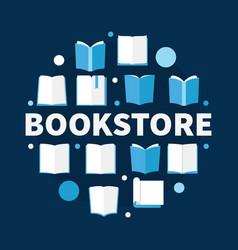 bookstore round flat circular vector image