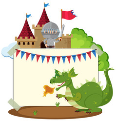 border template with dragon and knight vector image